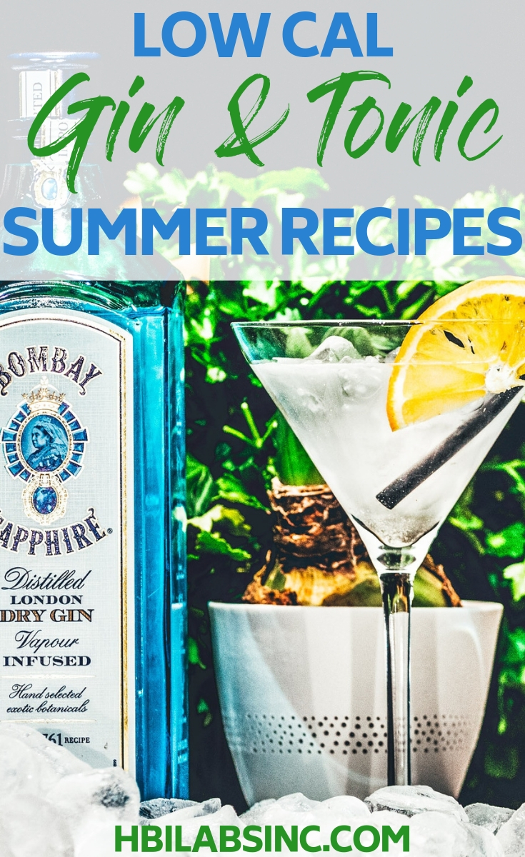 The perfect Summer drinks are low cal gin and tonic recipes that make an afternoon cocktail, happy hour or an evening party one to remember without all of the calories. Summer Cocktail Recipes | Light Cocktail Recipes | Gin and Tonic Recipes | Low Cal Cocktails | Low Cal Cocktail Recipes | Gin Cocktails #cocktails #lowcal