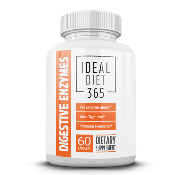 Ideal Diet 365 Digestive Enzymes break down proteins, fats, milk sugar, fiber, and carbohydrates to aid the body's natural digestive process.