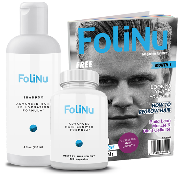 The oliNu Hair Growth Formula + Shampoo Bundle comes with FoliNu Advanced Hair Growth Formula, FoliNu Shampoo, and the Health & Hair Digital Magazine!