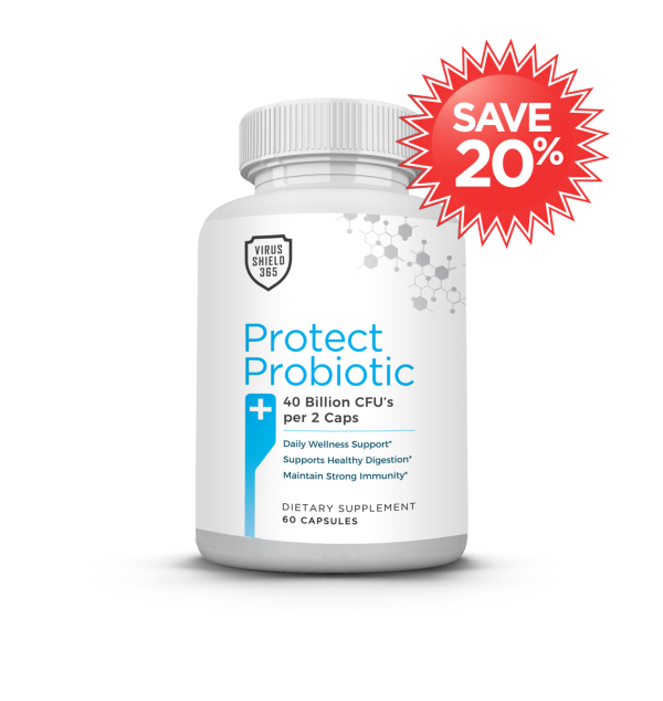 Virus Shield 365 Protect Probiotic can help assist in maintaining healthy intestinal flora and is instrumental in fighting infection and viruses.